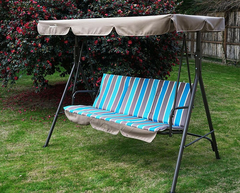 Swing With Stand Adjustable Canopy Porch Patio 3 Seater Intended For Wicker Glider Outdoor Porch Swings With Stand (View 10 of 25)