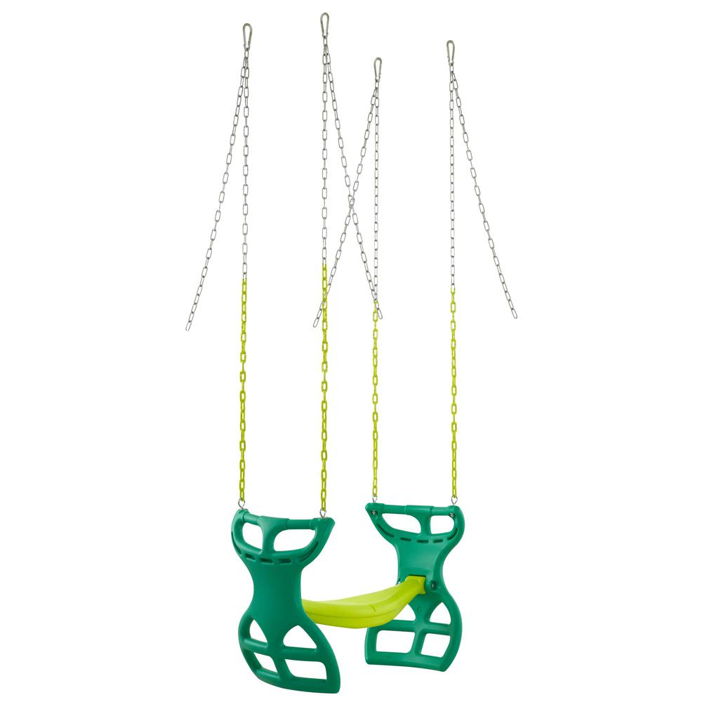Swingan 2 Seater Glider Swing Vinyl Coated Chain Hardware Regarding Dual Rider Glider Swings With Soft Touch Rope (View 21 of 25)