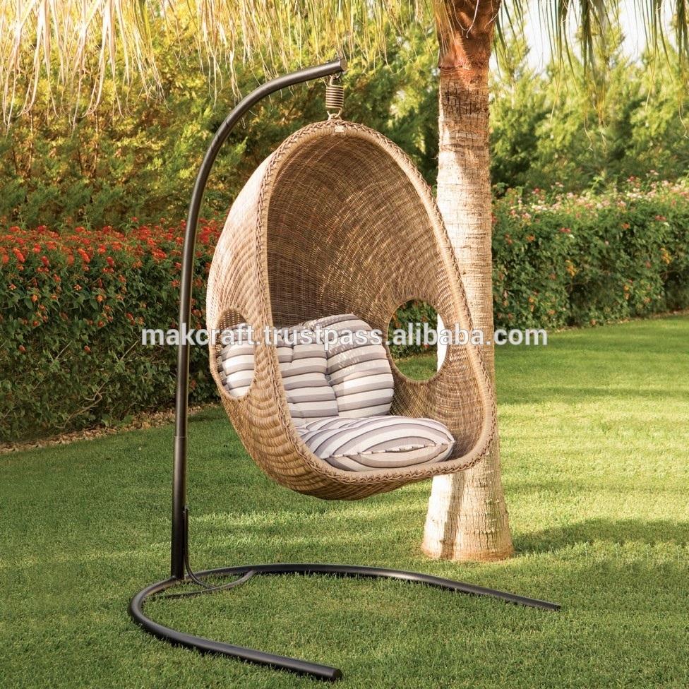 Synthetic Wicker Hanging Chair Outdoor Rattan Swing Chair – Garden Furniture Outdoor Swing Chair With Steel Frame Power Coated – Buy Garden Swing Egg For Rattan Garden Swing Chairs (View 2 of 25)