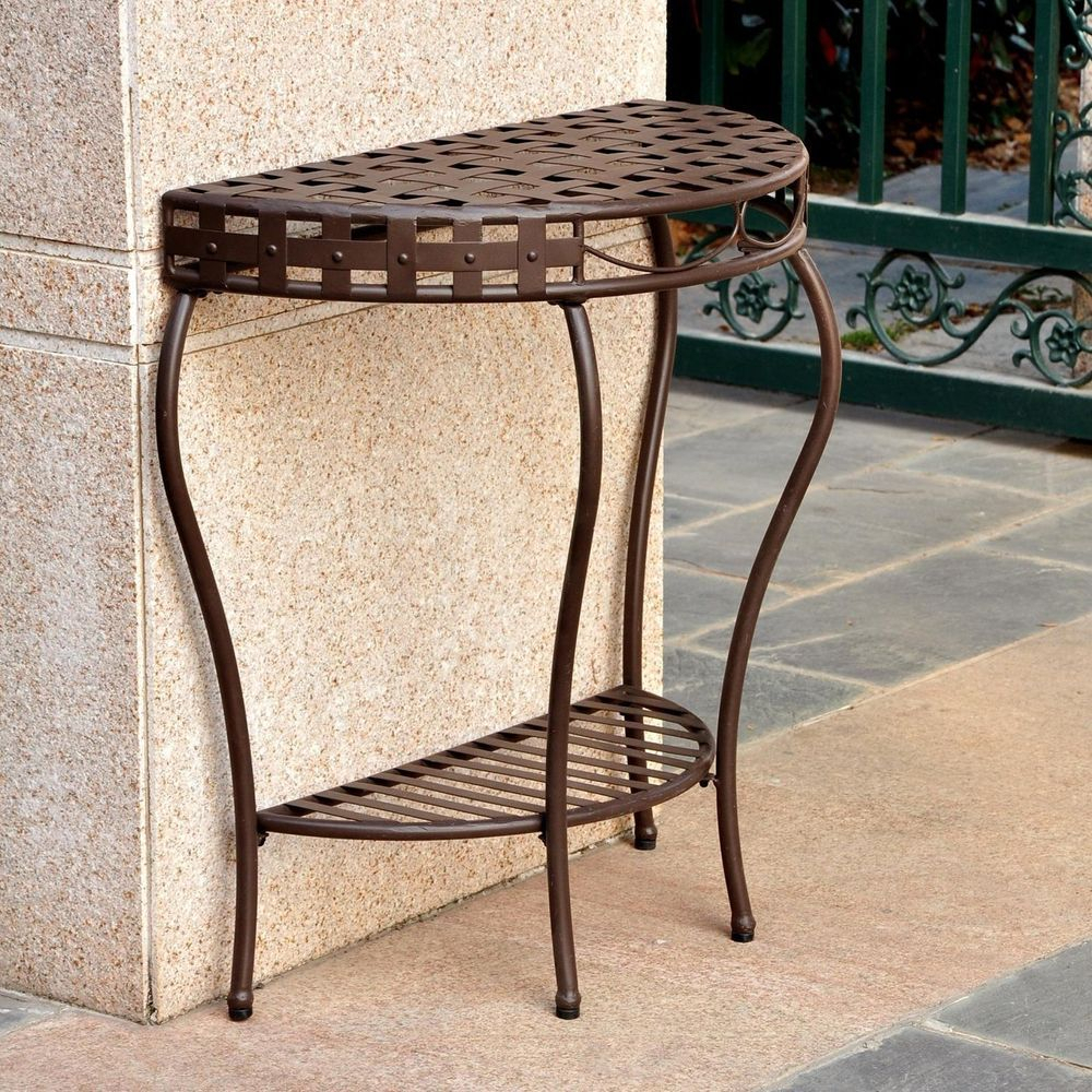 Table Outdoor Half Moon Wrought Iron Patio Console 2 Tier Intended For Outdoor Wicker Plastic Half Moon Leaf Shape Porch Swings (View 5 of 25)