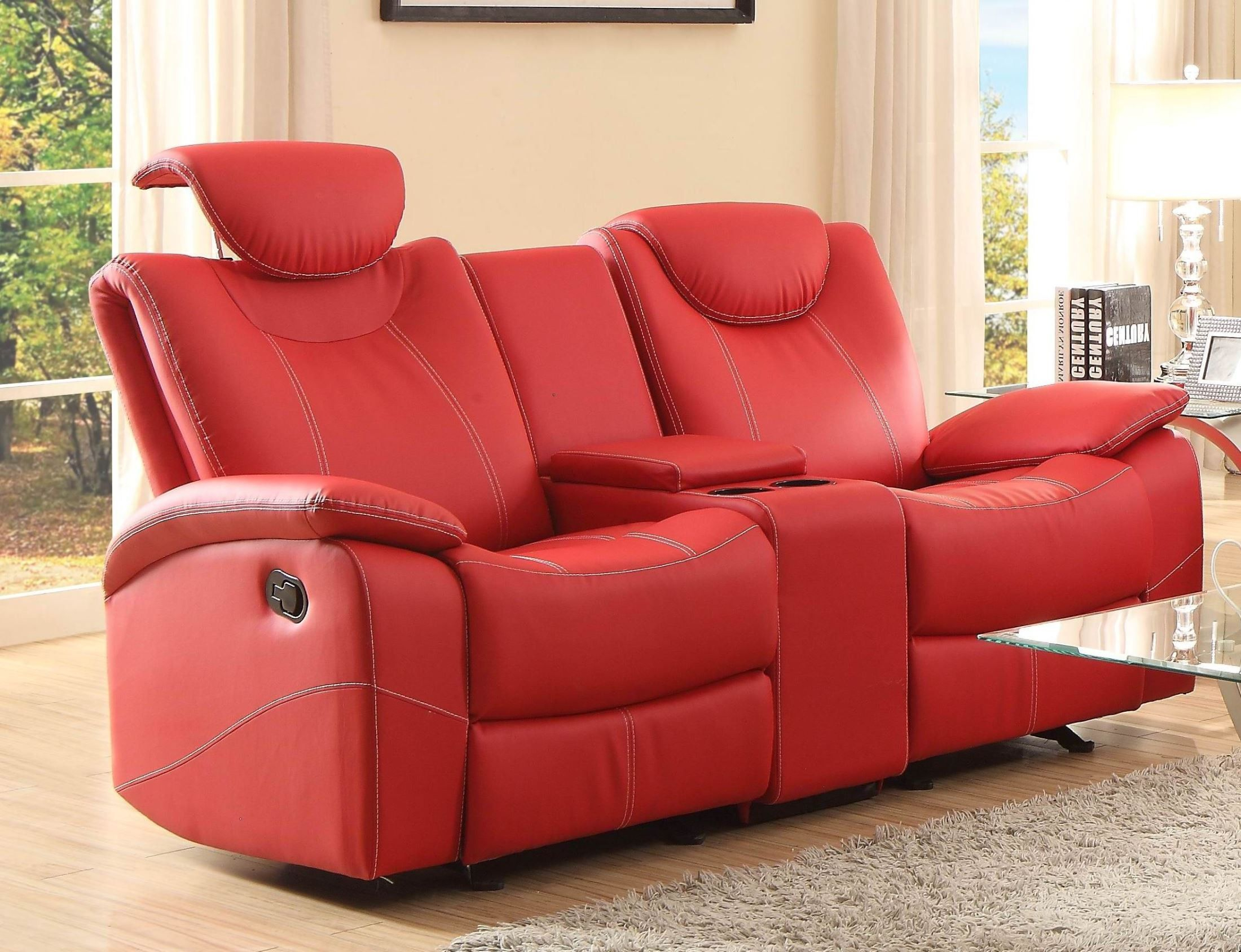 Talbot Red Double Glider Reclining Loveseat With Console With Double Glider Loveseats (Image 23 of 25)