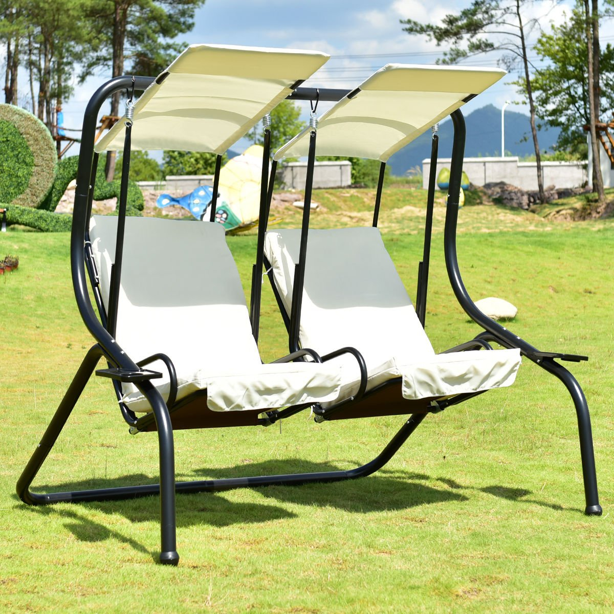 Tangkula 3 Person Patio Swing Glider Outdoor Swing Hammock Throughout Black Outdoor Durable Steel Frame Patio Swing Glider Bench Chairs (Photo 16 of 25)