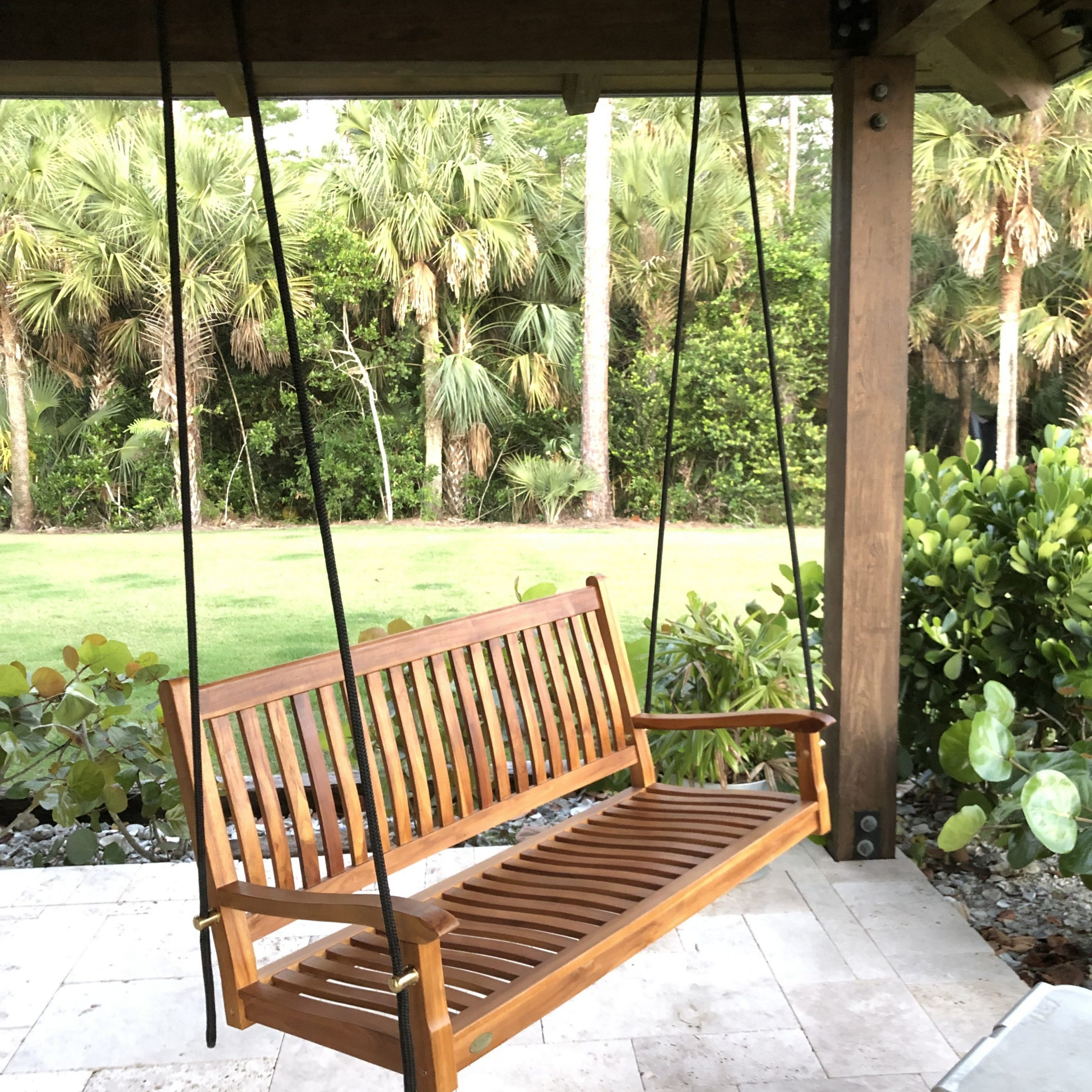 Teak Porch Swing With Boat Rope | Cypress Tide | Porch Swing In Teak Porch Swings (View 7 of 25)