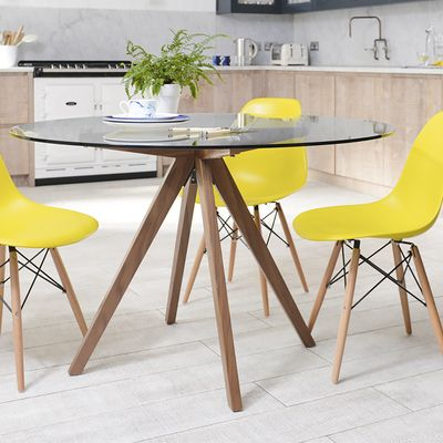 Tempered Glass Round Dining Table With Walnut Legs (View 13 of 25)