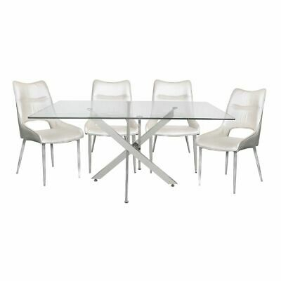 Tempered Glass Steel Chrome Rectangular Dining Table And 4 In Steel And Glass Rectangle Dining Tables (View 12 of 25)