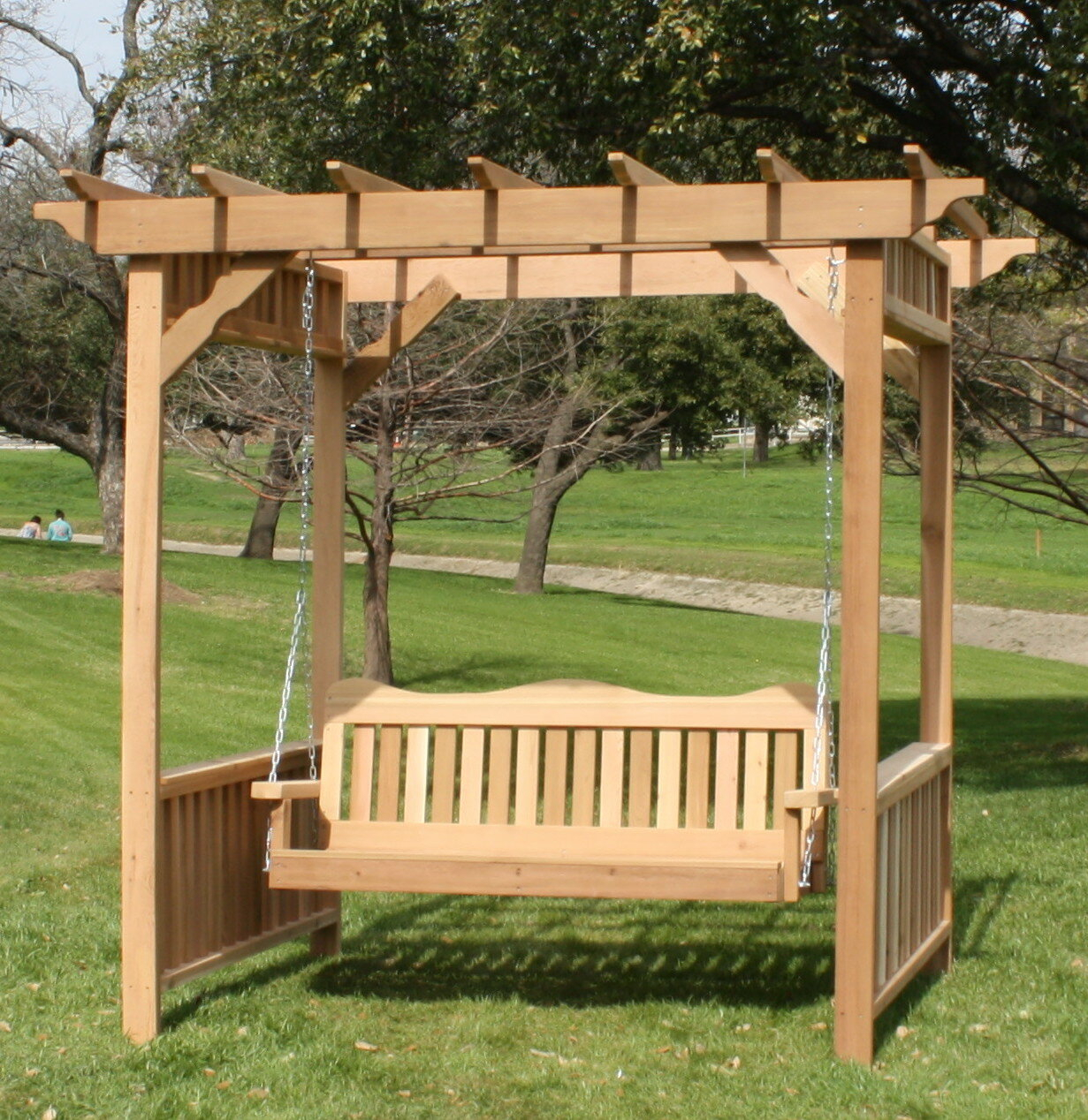 Thayer Cedar Arbor Porch Swing With Stand Intended For Pergola Porch Swings With Stand (View 22 of 26)