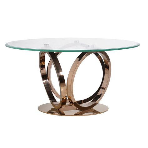 The Alina Rose Gold 3 Ring & Glass Dining Table   Glass Pertaining To Modern Gold Dining Tables With Clear Glass (View 25 of 26)