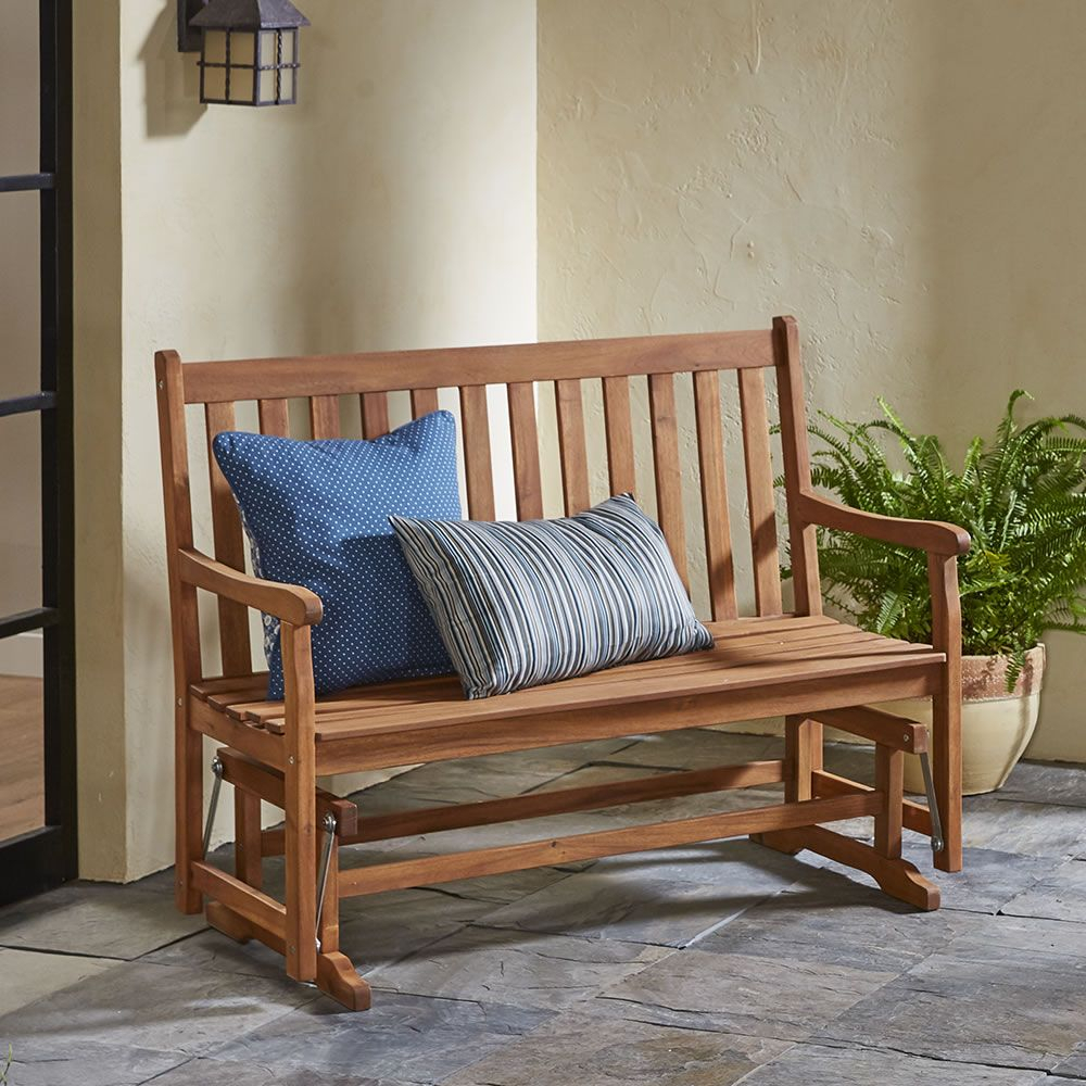 The Classic Acacia Glider Bench – Hammacher Schlemmer For Classic Glider Benches (View 4 of 25)