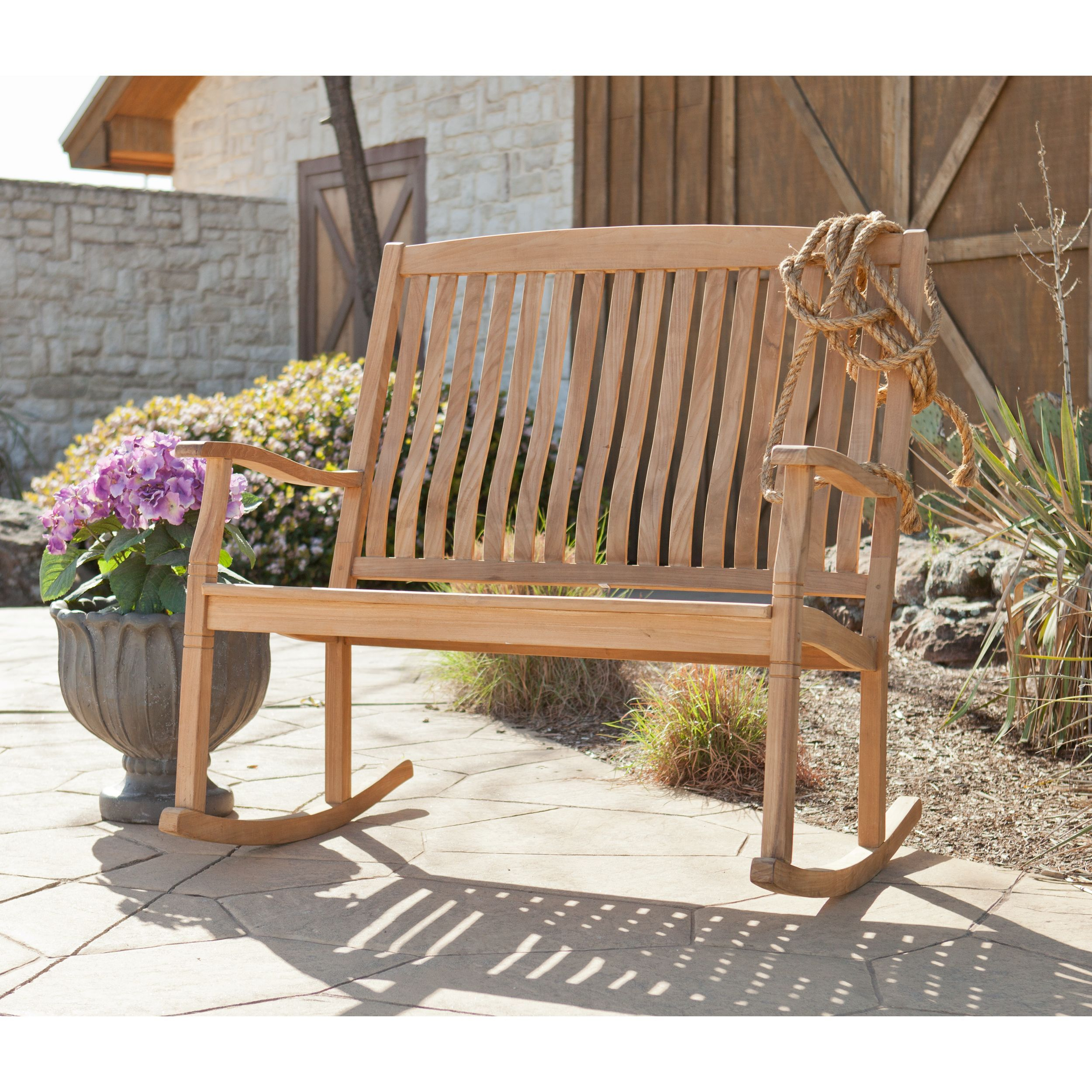 The Graceful Yet Rustic Style Of This Teak Glider Bench Is Within Teak Outdoor Glider Benches (View 2 of 25)