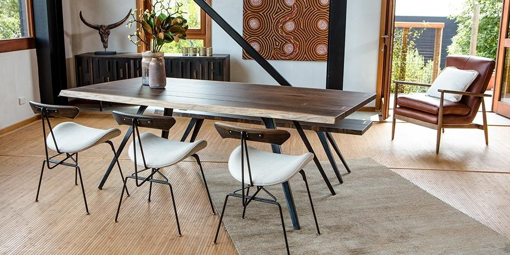 The Vega Dining Table Has A Free Edge, Black Cast Iron Legs With Dining Tables In Seared Oak (Image 20 of 25)