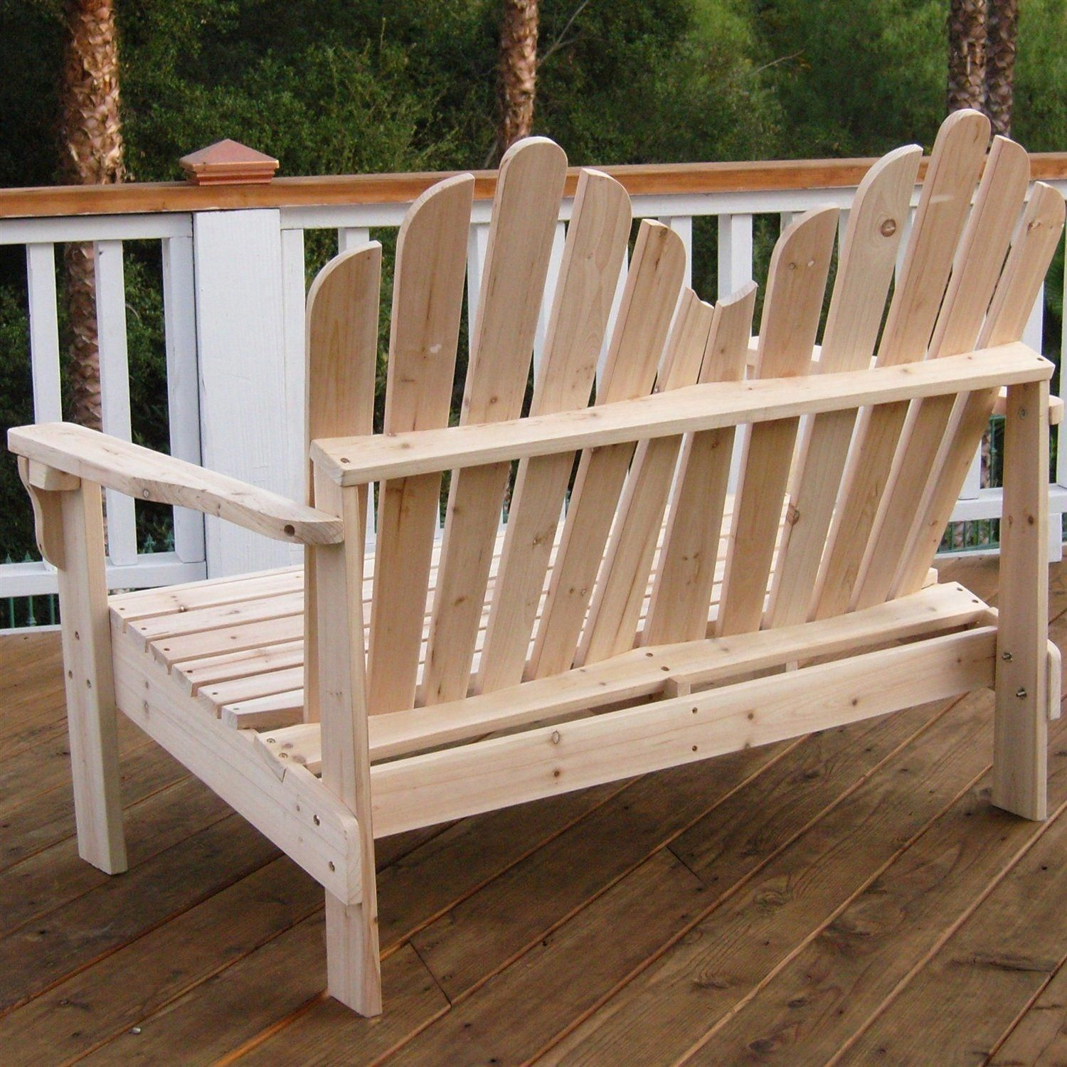 This 2 Seat Adirondack Style Outdoor Cedar Wood Garden Bench Inside 2 Person Natural Cedar Wood Outdoor Gliders (Image 24 of 25)