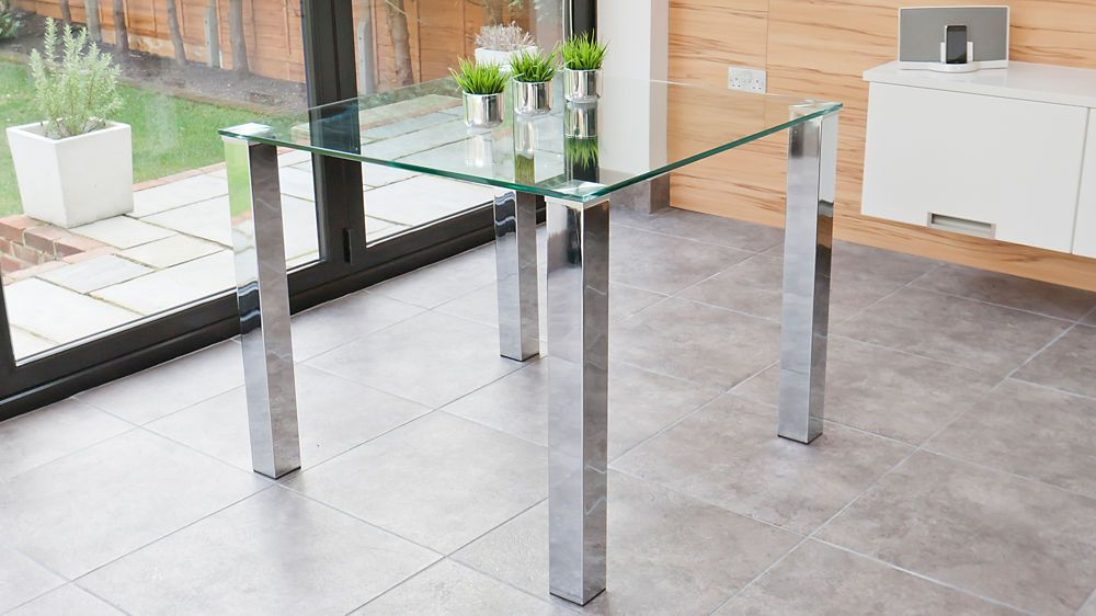 Tiva 2 To 4 Seater Small Glass And Chrome Dining Table Pertaining To Chrome Dining Tables With Tempered Glass (View 23 of 25)