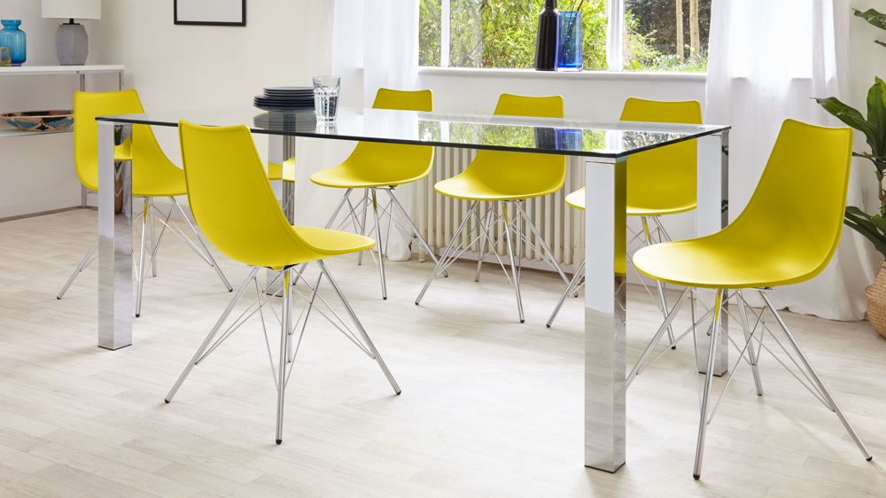Tiva 6 To 8 Seater Large Glass And Chrome Dining Table Within Eames Style Dining Tables With Chromed Leg And Tempered Glass Top (View 15 of 25)
