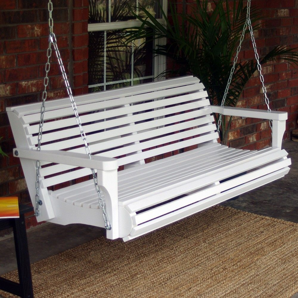 Tmp Outdoor Furniture Contoured Classic White Porch Swing In For Classic Porch Swings (Image 21 of 25)