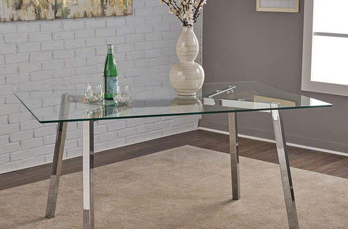 Top 10 Best Modern Glass Dining Tables For Kitchen Reviews For Chrome Dining Tables With Tempered Glass (View 17 of 25)
