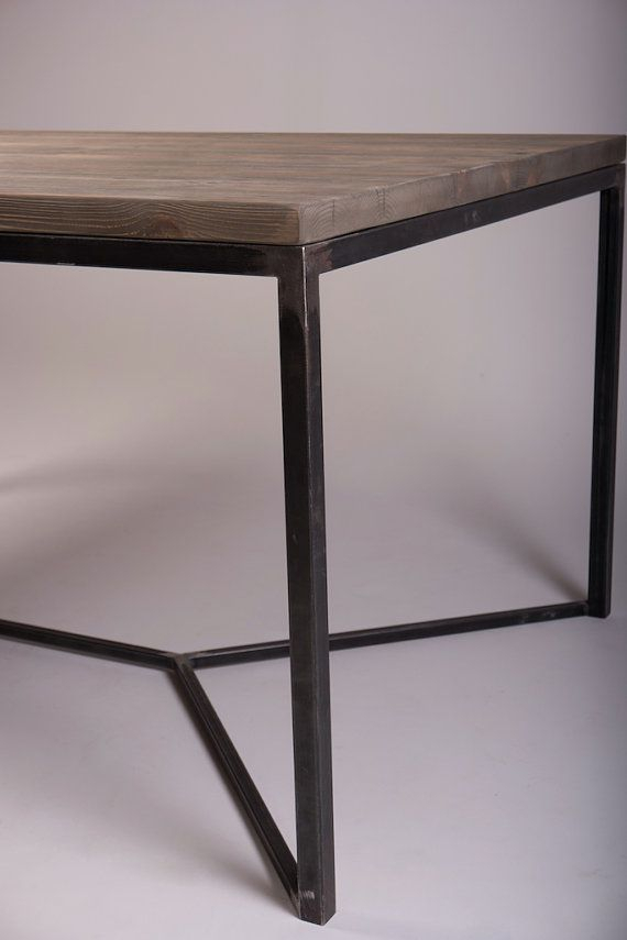 Tower Industrial Style Solid Wooden Metal Dining Table With Iron Wood Dining Tables With Metal Legs (View 21 of 25)