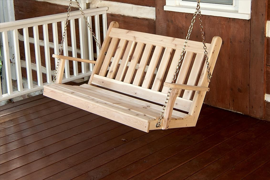 Traditional English Outdoor Cedar Swing With Chains – The In 5 Ft Cedar Swings With Springs (View 24 of 25)