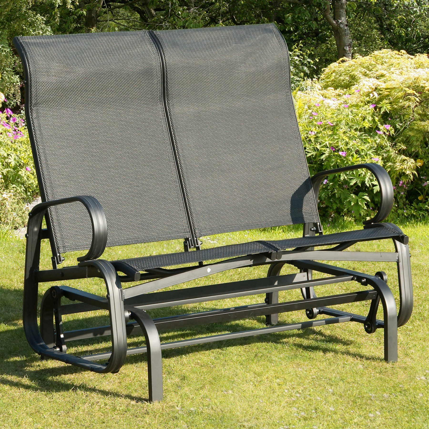 Transcontinental Outdoor Havana Black Sling Outdoor Glider In Speckled Glider Benches (View 6 of 25)