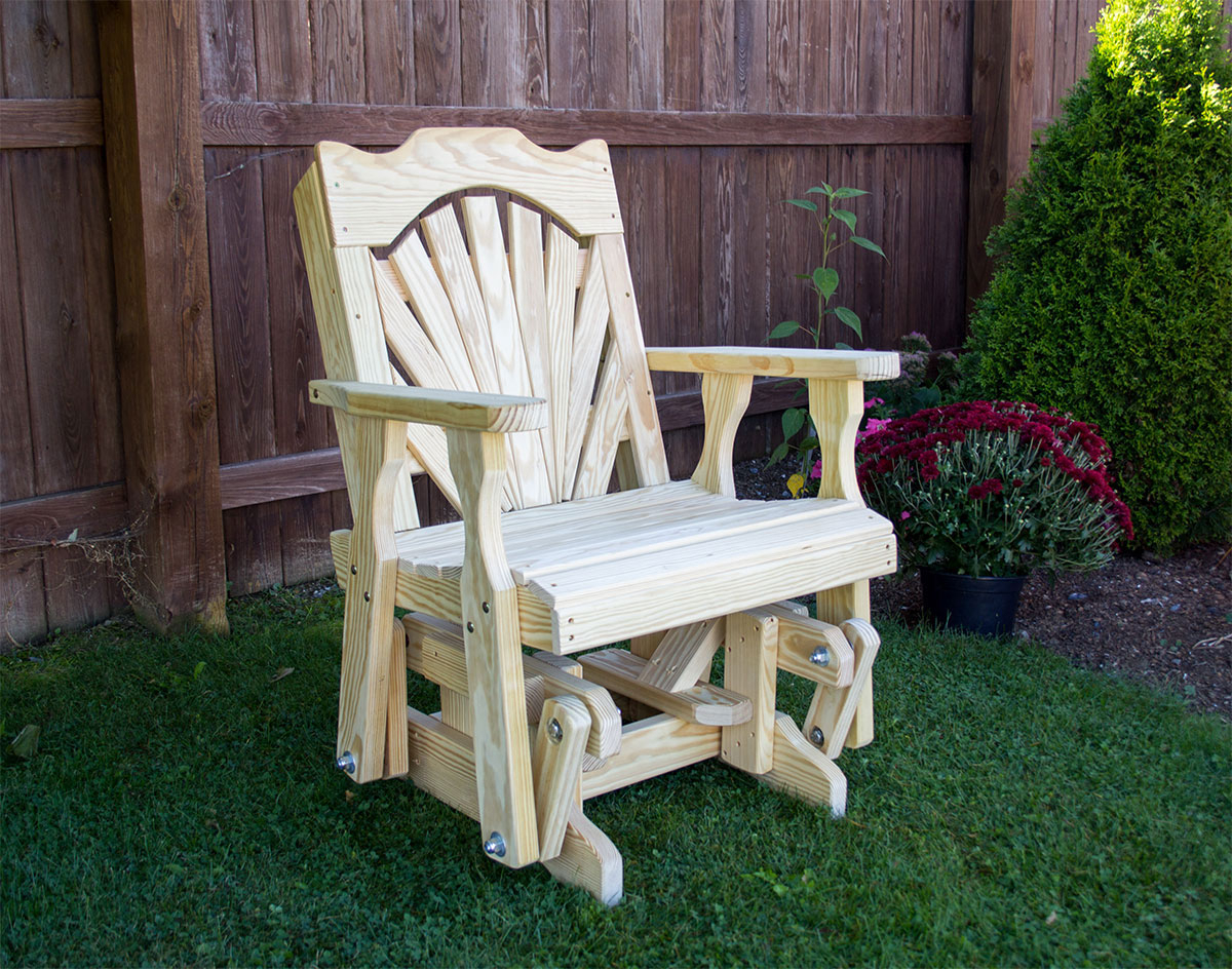 Treated Pine Fanback Glider Chair Pertaining To Fanback Glider Benches (View 19 of 25)