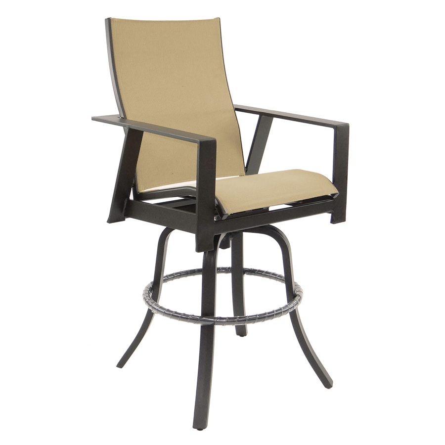Trento High Back Sling Swivel Bar Stool | Castelle Furniture Pertaining To Padded Sling High Back Swivel Chairs (View 12 of 25)