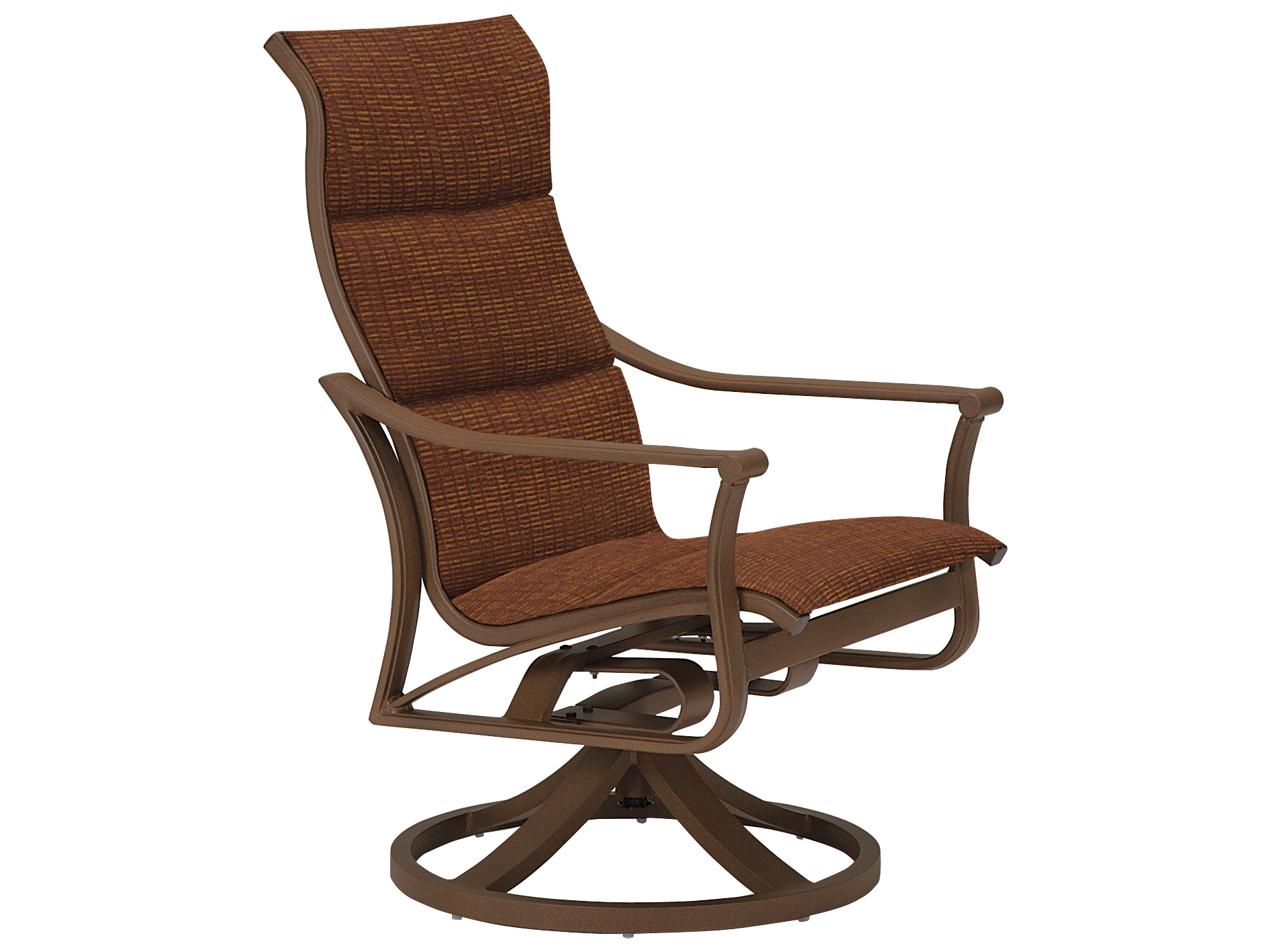 Tropitone Corsica Padded Sling Aluminum High Back Swivel Rocker Lounge Chair In Padded Sling High Back Swivel Chairs (View 19 of 25)