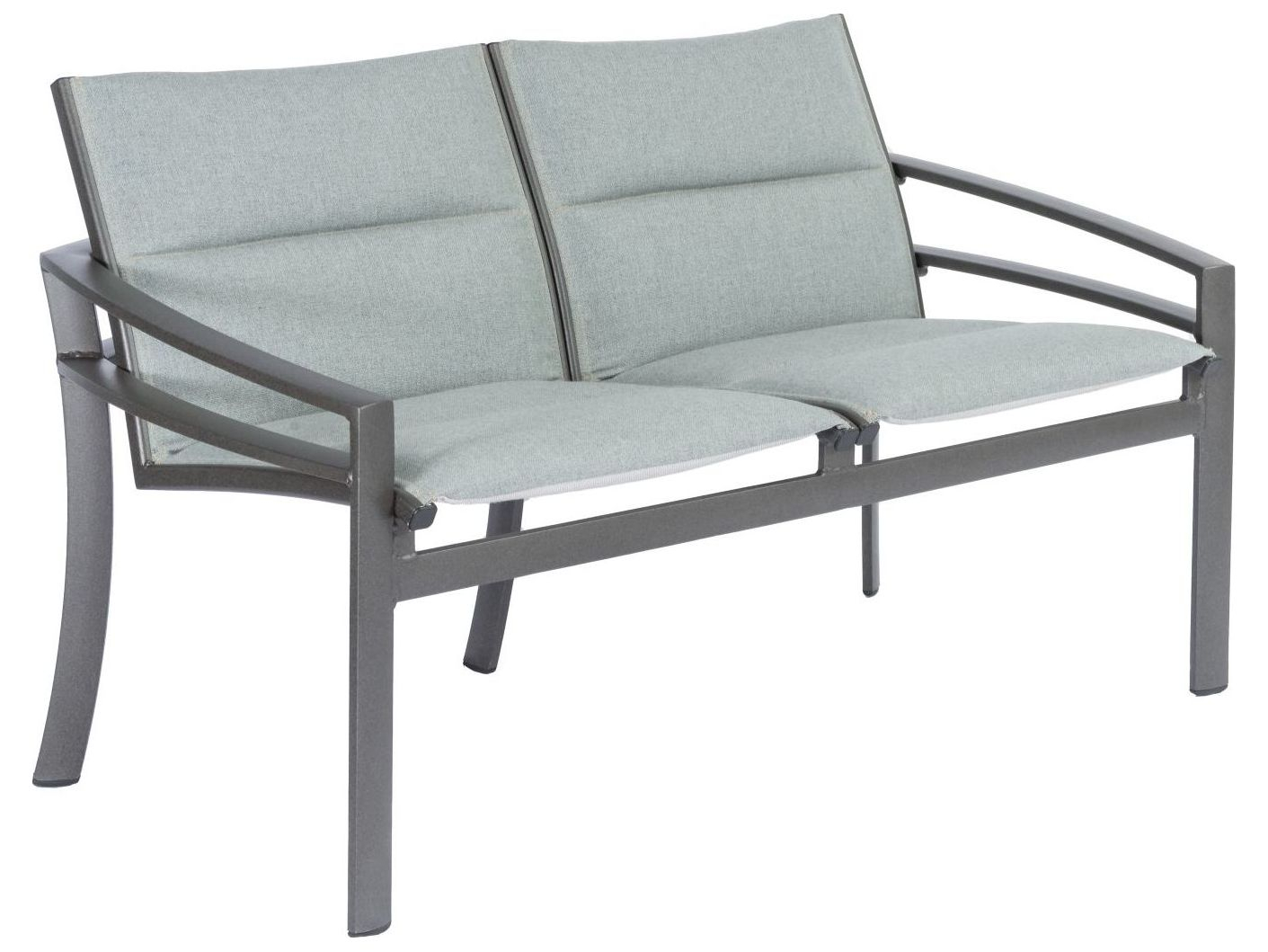 Tropitone Kor Padded Sling Aluminum Loveseat Pertaining To Padded Sling Double Glider Benches (View 25 of 25)