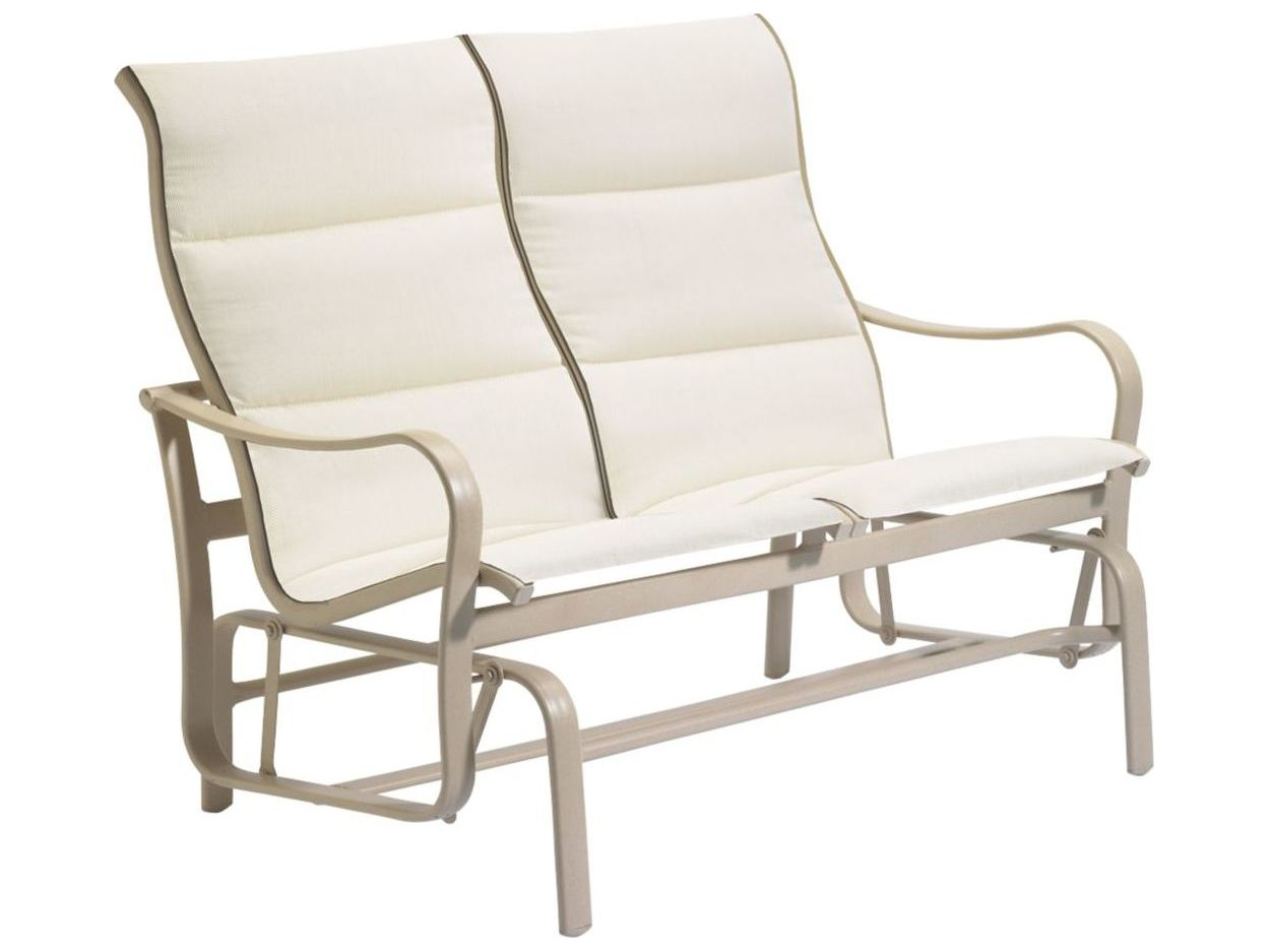 Tropitone Shoreline Padded Sling Aluminum Double Glider Regarding Padded Sling Double Glider Benches (View 16 of 25)