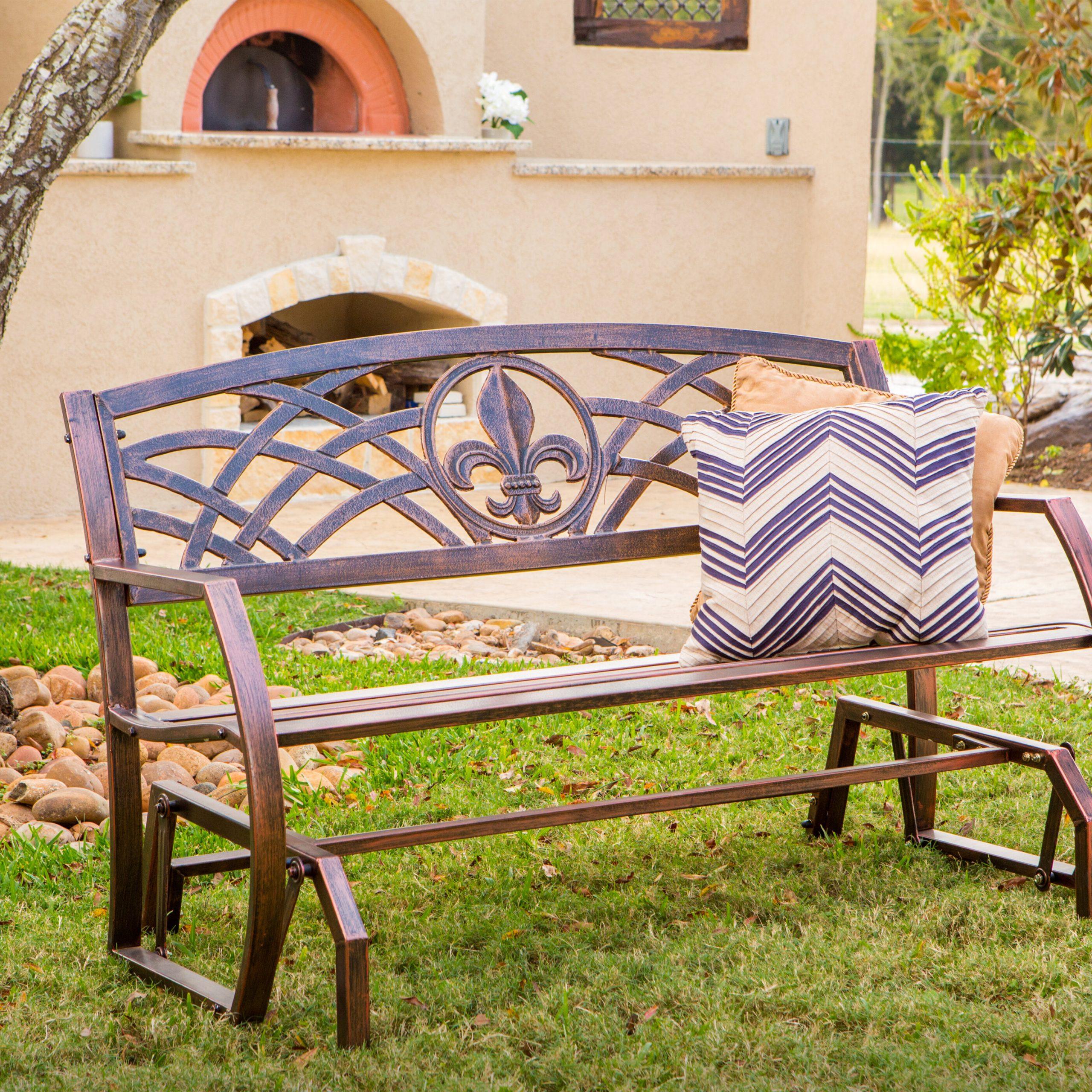Trumann Fleur De Lis Glider Bench In Speckled Glider Benches (View 13 of 25)
