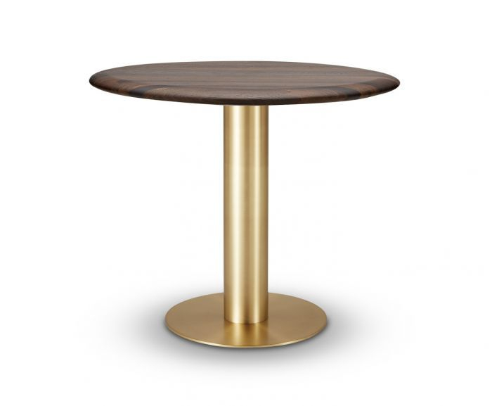 Tube Dining Table Brass Fumed Oak Top 900Mm Within Fumed Oak Dining Tables (View 2 of 25)