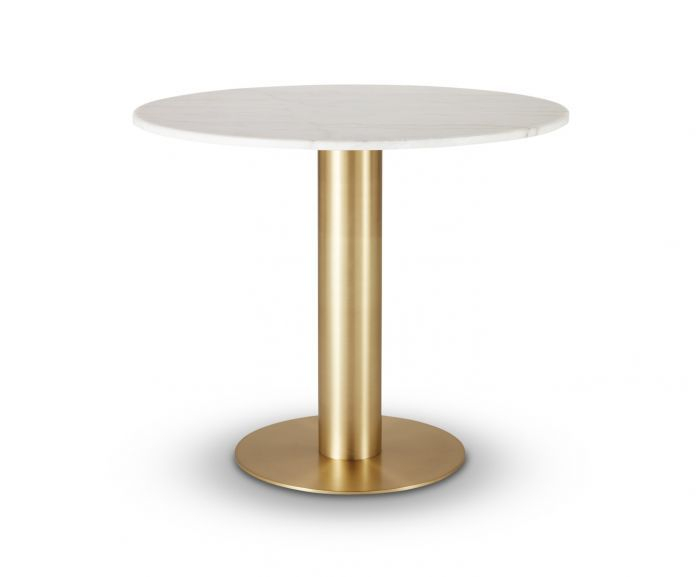 Tube Dining Table Brass White Marble Top 900Mm For Dining Tables With White Marble Top (Image 19 of 25)
