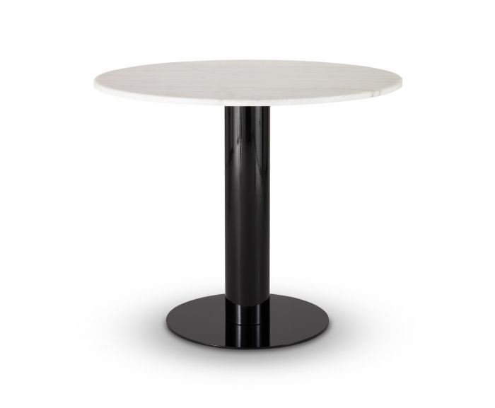 Tube Dining Table White Marble Top 900Mm Within Dining Tables With White Marble Top (Image 20 of 25)