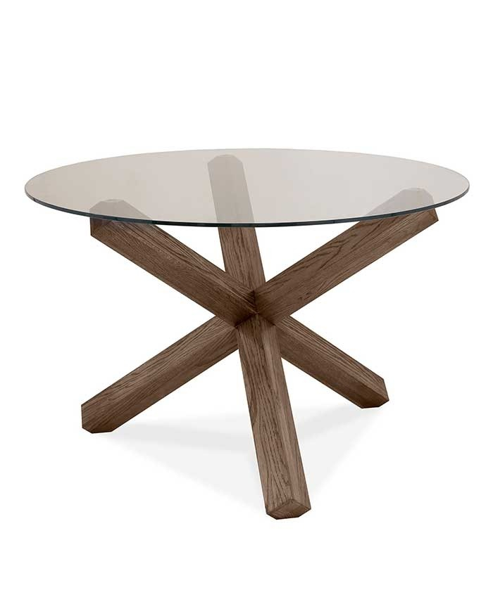 Turin Dark Oak Glass Top Round Dining Table In Round Dining Tables With Glass Top (View 4 of 25)