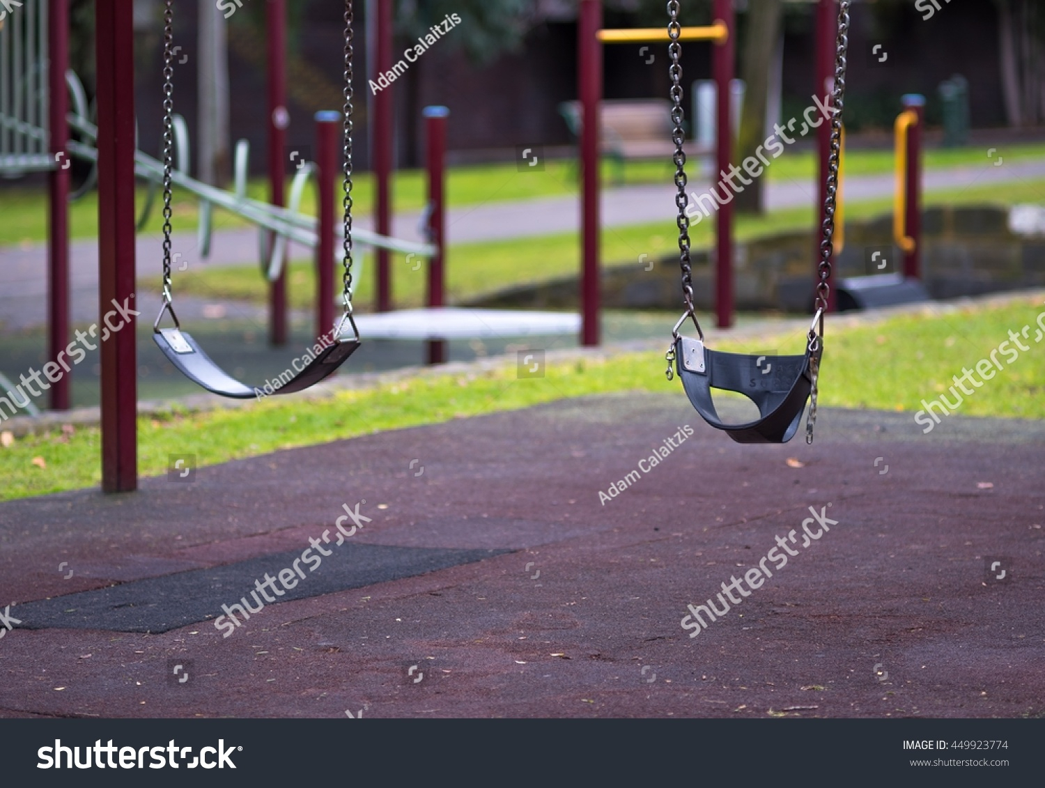 Two Childrens Playground Swing Seats Hanging Stock Photo With Regard To Swing Seats With Chains (View 10 of 25)