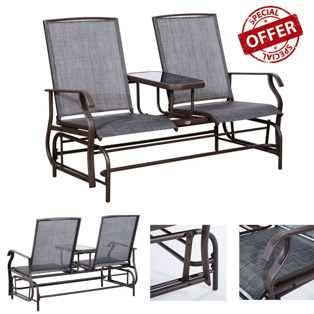 Two Person Outdoor Arm Chair Double Bench With Center Table For Outdoor Fabric Glider Benches (View 4 of 25)