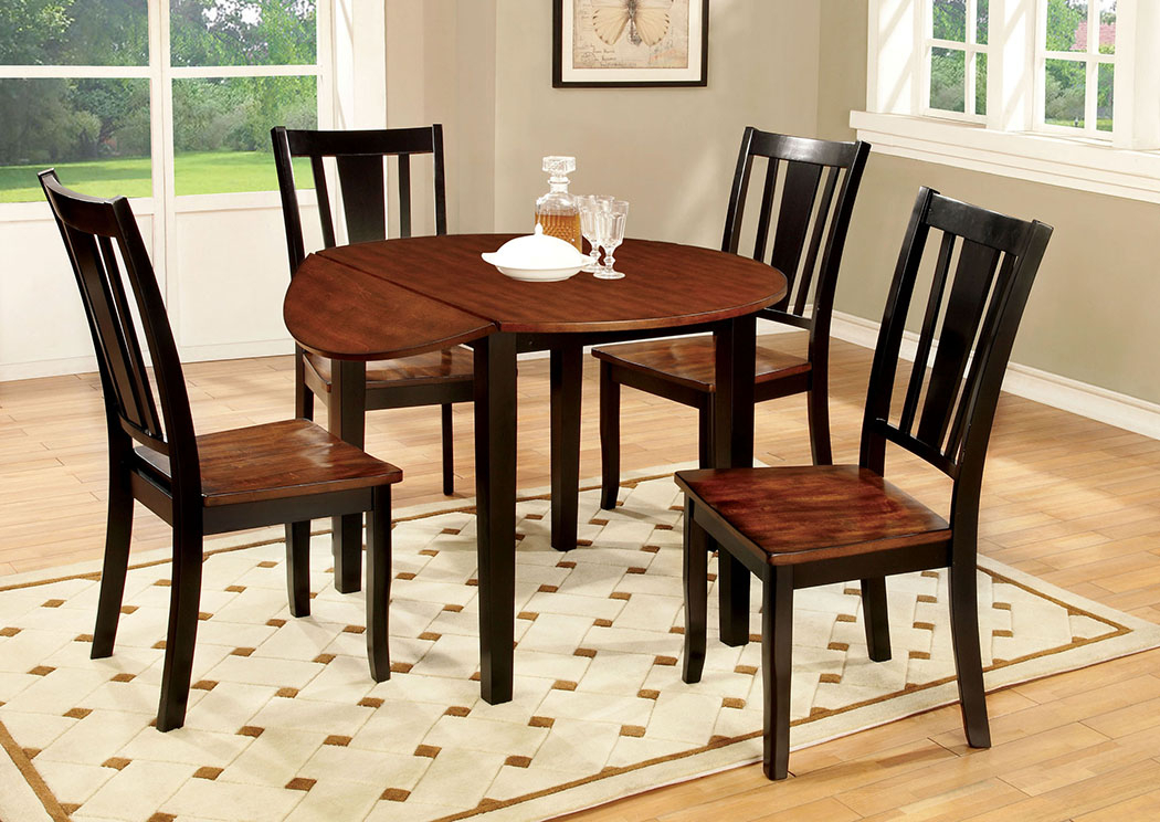 Unclaimed Furniture Ar Dover Black & Cherry Round Drop Leaf Within Transitional 4 Seating Drop Leaf Casual Dining Tables (View 7 of 25)