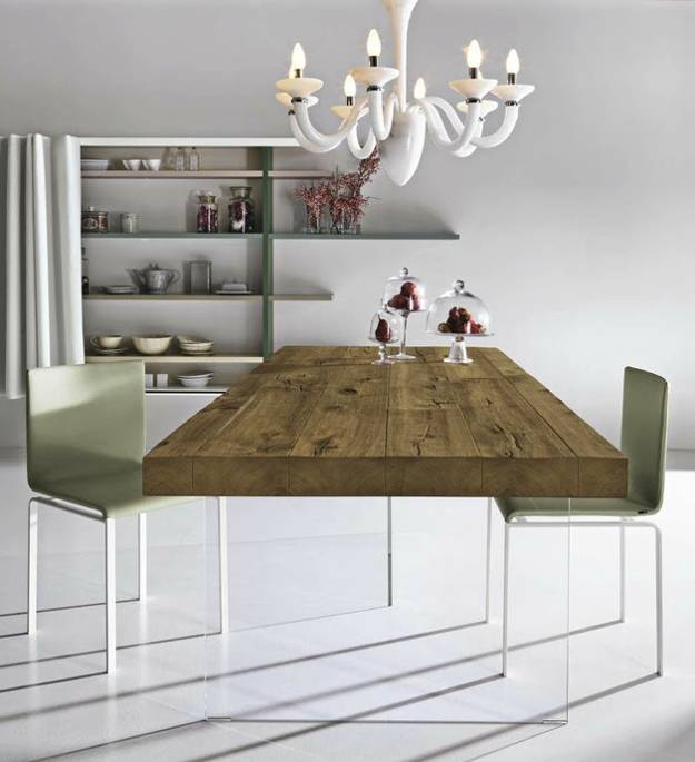 Unique Dining Table Mixing Glass And Solid Wood Furniture With Wood Top Dining Tables (View 18 of 25)