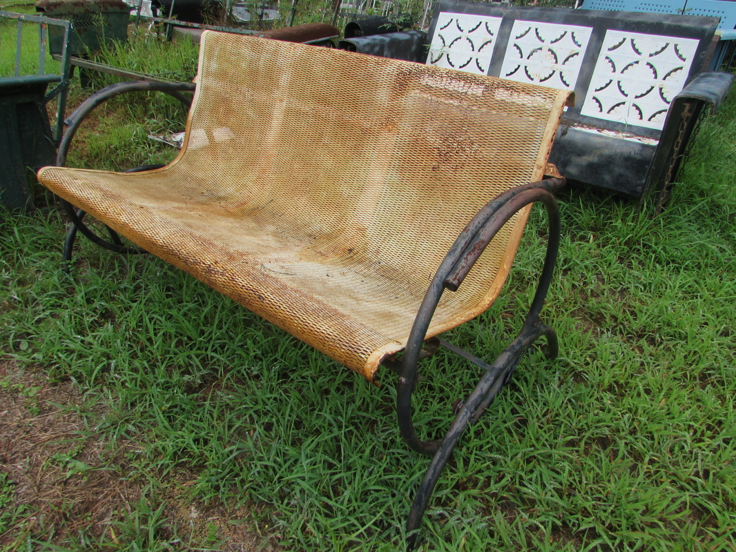 Unrestored Metal 3Seat Vintage Porch Gliders – Vintage Metal Intended For Metal Retro Glider Benches (Image 17 of 25)