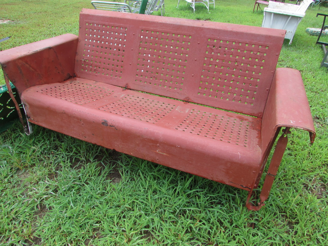 Unrestored Metal 3Seat Vintage Porch Gliders – Vintage Metal Pertaining To Metal Retro Glider Benches (Image 19 of 25)