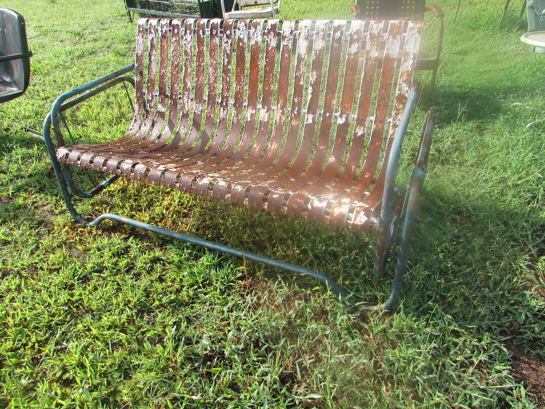 Unrestored Metal 3Seat Vintage Porch Gliders – Vintage Metal Pertaining To Metal Retro Glider Benches (Image 18 of 25)