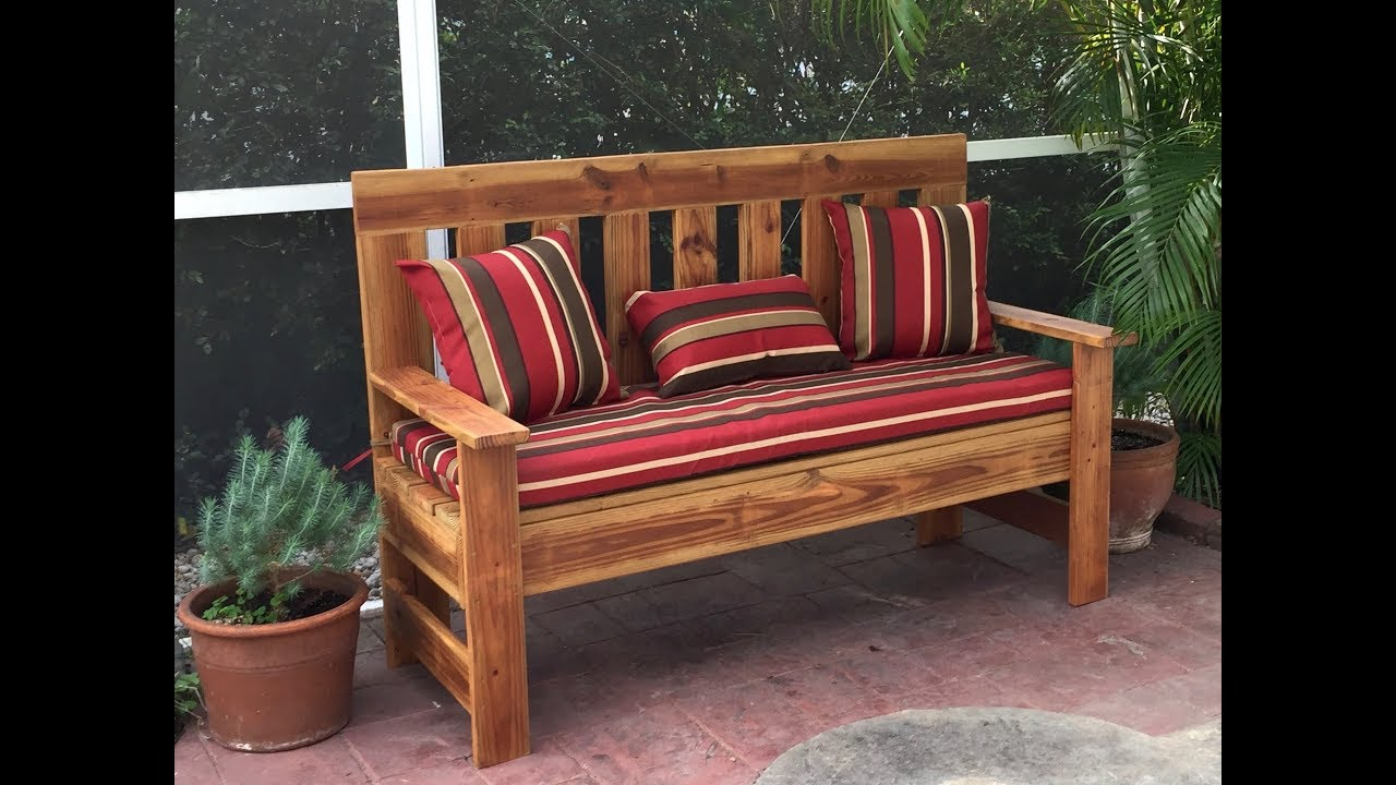 Upcycled Wood Outdoor Bench Garden Bench Diy 60 Inch Pertaining To Wood Garden Benches (View 5 of 25)