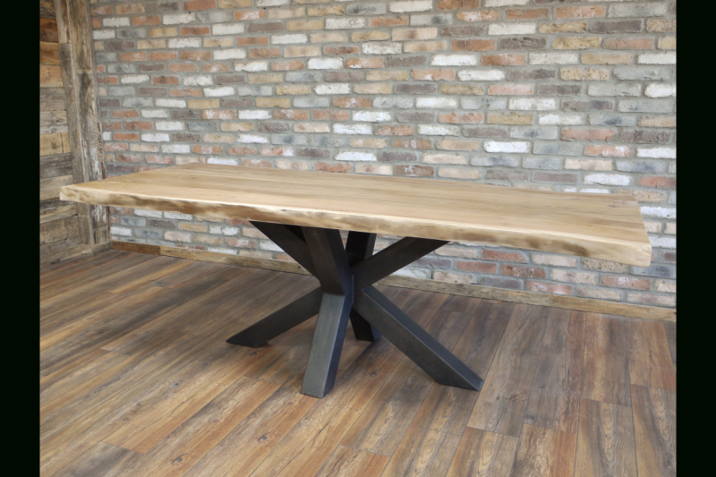 Urban Acacia Wood Dining Table – Heavy Iron Legs Inside Solid Acacia Wood Dining Tables (Image 21 of 25)