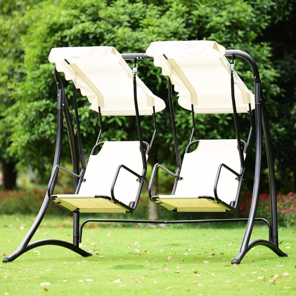 Featured Image of 2 Person Hammock Porch Swing Patio Outdoor Hanging Loveseat Canopy Glider Swings