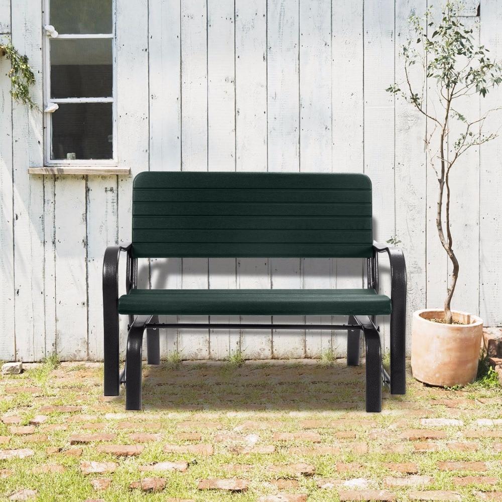Us $99.99  Outdoor Patio Swing Porch Rocker Glider Bench Loveseat Garden  Seat Steel Op2970 On Aliexpress Throughout Black Outdoor Durable Steel Frame Patio Swing Glider Bench Chairs (Photo 23 of 25)