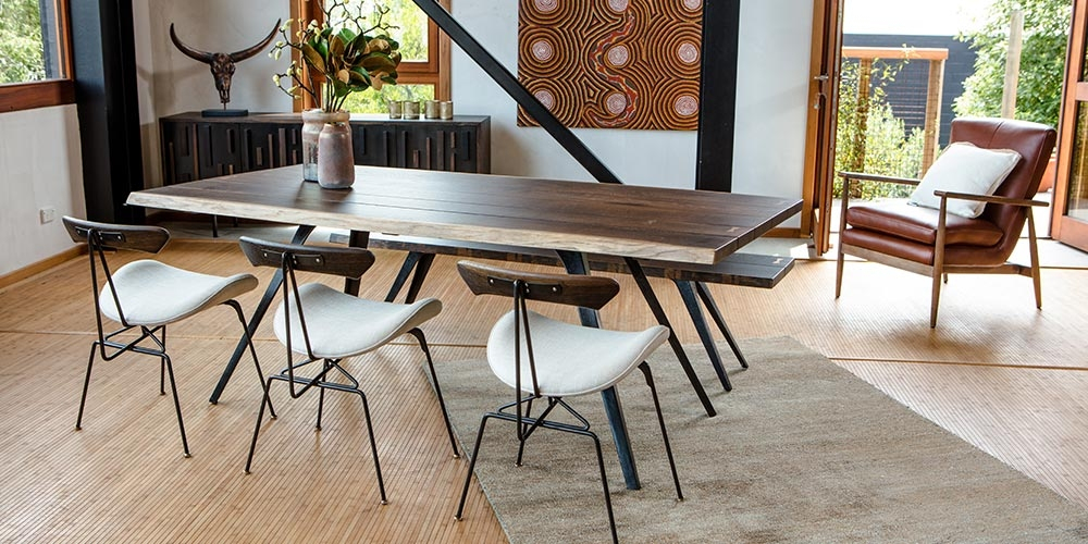 Vega Dining Table | Hunter Furniture Throughout Dining Tables In Seared Oak With Brass Detail (View 21 of 25)