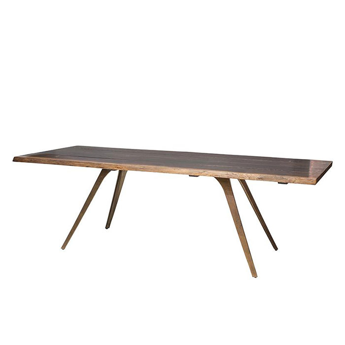 Vega Dining Table – Seared / Bronzed Throughout Dining Tables In Seared Oak With Brass Detail (View 6 of 25)