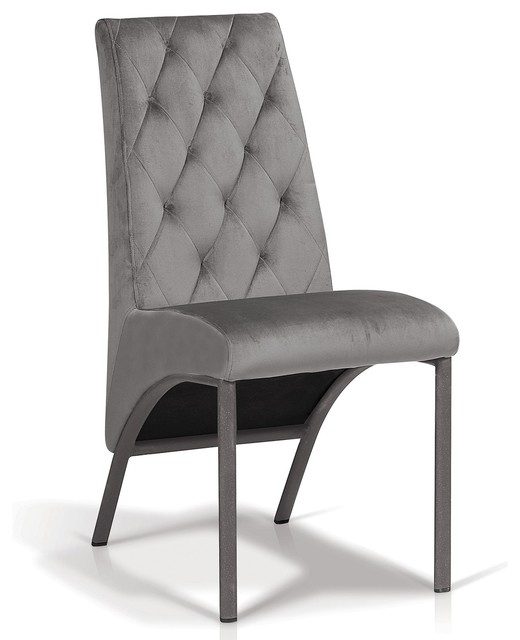 Velour Tufted Dining Chair, Dove Grey Inside Artefac Contemporary Casual Dining Tables (Image 25 of 25)