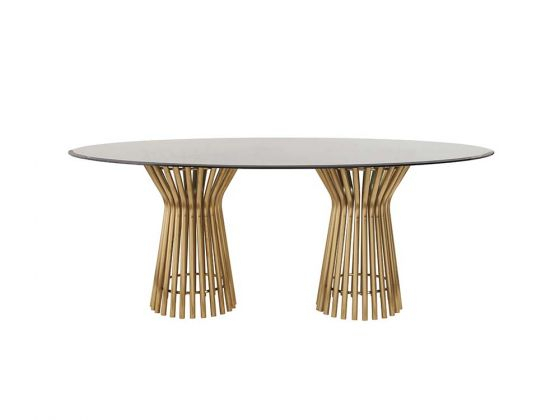 Vera Dining Table Oval Top Pertaining To Smoked Oval Glasstop Dining Tables (View 5 of 25)