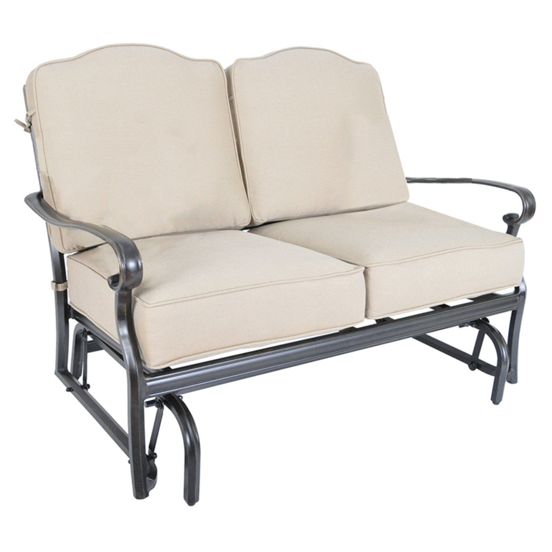 Veranda Classics Harmony Aluminum Patio Loveseat Glider With Outdoor Loveseat Gliders With Cushion (Photo 6 of 25)