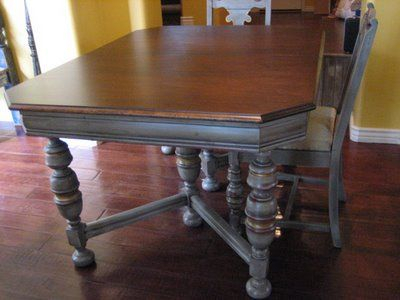 Very Close To My Dining Room Table Refinished In Gray Within Walnut And Antique White Finish Contemporary Country Dining Tables (Photo 25 of 25)