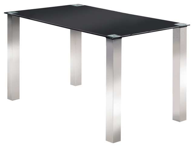 "Vestavia Dining Table, Chrome Metal & Black Tempered Glass Top, 55"" Rectangular With Regard To Chrome Dining Tables With Tempered Glass (View 7 of 25)"